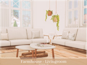 Sims 4 — Farmhouse Living room by Mini_Simmer — This room is part of a Modern Farmhouse series. Room type: Living room
