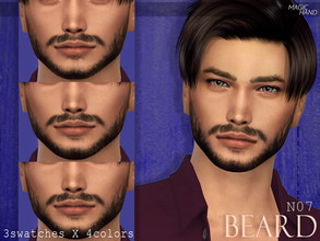 Sims 4 — [MH] Beard N07 by MagicHand — --3 swatches X 4 colors-- --Compatible with HQ settings-- --CAS thumbnail-- The