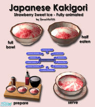"Sims 2 — Japanese Sweet Ice -  Strawberry by Simaddict99 — Available all day under both ""serve dessert"" &"