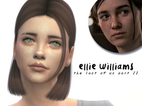 "Sims 4 — Ellie Williams  by deathfr1enss — Go to the tab ""Required"" to download the CC needed. No sliders used."