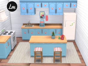 Sims 4 — Birdy in the kitchen  by Lucy_Muni — Kitchen set consisting of 9 items Counters come in 2 versions, with birds
