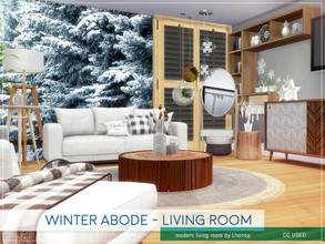 Sims 4 — Winter Abode - Living Room by Lhonna — Comfortable, large living room for winter time. The room is furnished,