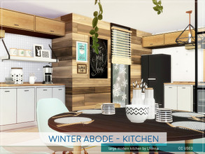 Sims 4 — Winter Abode - Kitchen by Lhonna — Modern kitchen for wintertime. The room is furnished, tested, and ready to