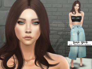 "Sims 4 — Dina York by deathfr1enss — Go to the tab ""Required"" to download the CC needed. No sliders used."