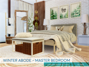 Sims 4 — Winter Abode - Master Bedroom by Lhonna — Big, comfortable bedroom for wintertime. The room is furnished,