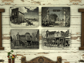 Sims 4 — Lone Star by spitzmagic — A set of Black & White Western prints.