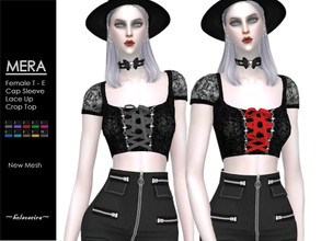 Sims 4 — MERA - Goth Top by Helsoseira — Style : Goth lace up cap sleeve crop top Name : MERA Sub part Type : Blouse