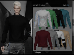 Sims 4 — DSF SWEATER AREHN by DanSimsFantasy — Long sleeve sweater with closed neck in cotton material, length at the