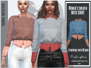 Sims 4 — Women's sweater with shirt by Sims_House — Women's sweater with shirt 10 options.