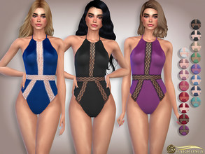 Sims 4 — Floral Lace Trim Satin Teddy Bodysuit by Harmonia — 16 color Please do not use my textures. Please do not