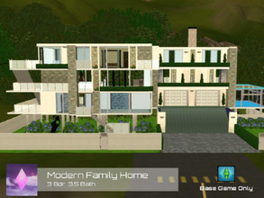 Sims 3 — Modern Family Home (no cc,basegame) by Pink_Altitude — This modern home offers cozy family comforts. It boasts