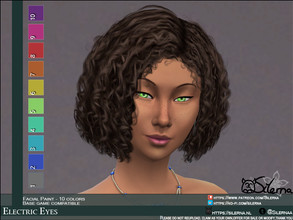 Sims 4 — Electric Eyes by Silerna — - Base game compatible - Facial paint - Teen - Young adult - adult - elder - 10