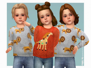 Sims 4 — Safari Animals Sweater [NEEDS CATS & DOGS] by lillka — Safari Animals Sweater for Toddler 3 swatches Custom