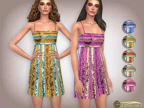 Sims 4 — Allover Glittering Sequin Midi Dress by Harmonia — Mesh By Harmonia 5 color Please do not use my textures.