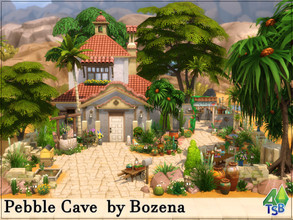 Sims 4 — Pebble Cave by Bozena — The house is located in the Bedrock Strait district. Oasis Springs -kitchen -livingroom