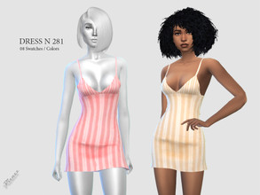 Sims 4 — DRESS N 281 by pizazz — NEW MESH INCLUDED WITH DOWNLOAD Base game 08 colors / swatches HQ - LODS - MAPS *Hair