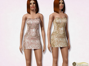 Sims 3 — Sequin Embroidered Mini Dress by Harmonia — 3 color. not-Recolorable