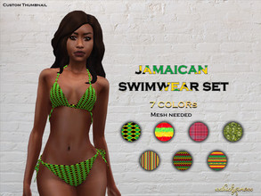 Sims 4 — Jamaican Swimwear Set by XxThickySimsxX — Recolor of Busra-tr's Bikini BD287 Mesh needed Contains 7 Patterns