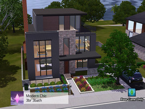 Sims 3 — Modern Chic Home (base game, no cc) by Pink_Altitude — This modern brick and wood family home is perfect for