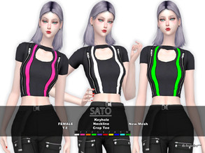 Sims 4 — SATO - Crop T-Shirt by Helsoseira — Style : Goth industrial keyhole crop T-Shirt Name : SATO Sub part Type :
