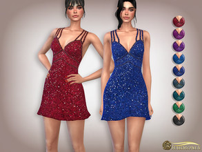 Sims 4 — Sequin Double-Strap Cocktail Dress by Harmonia — Mesh by Harmonia 9 color Please do not use my textures. Please