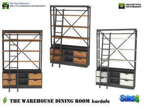 Sims 4 — kardofe_The Warehouse Dining Room _Bookshelf by kardofe — Bookcase, industrial style, made of wood and metal,