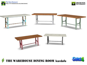 Sims 4 — kardofe_The Warehouse Dining Room _DiningTable by kardofe — Wood and metal table, industrial style, in five