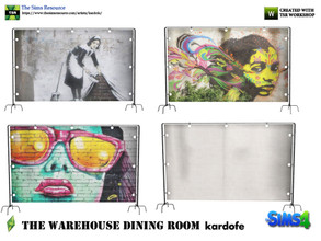 Sims 4 — kardofe_The Warehouse Dining Room _Screen by kardofe — Room divider made from a tarpaulin and some metal pipes,