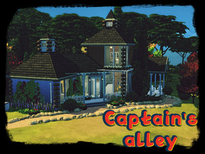 Sims 4 — Captain's alley by GenkaiHaretsu — Old blue Captain house in Windenburg.