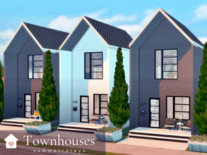 Sims 4 — Townhouses by Summerr_Plays — A set of three prefab townhouses in Evergreen Harbor. Each townhouse has a kitchen
