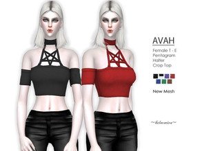 Sims 4 — AVAH - Gothic Pentagram Top by Helsoseira — Style : Cold shoulder halter pentagram gothic top Name : AVAH Sub