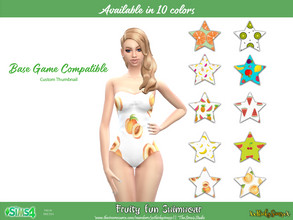 Sims 4 — Fruity Fun Swimwear by XxThickySimsxX — Base game compatible base game recolor original s4 mesh 10 colors