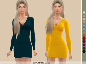 Sims 4 — Cable Knit Dress by ekinege — A cable knit dress featuring a V-neckline, long sleeves, and a bodycon silhouette.