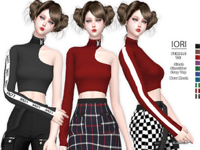 Sims 4 — IORI - Slash Shoulder Top by Helsoseira — Style : One shoulder buckle detail crop top Name : IORI Sub part Type