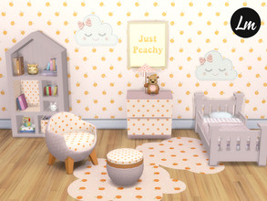 Sims 4 — Life's a Peach by Lucy_Muni — Toddler bedroom with a peach theme Chair and pouf requires Island living expansion