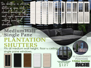 Sims 4 — Padre Zenotta Single Plantation Shutters Medium by Padre — A new instalment of my shutters. This time it is a