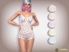 Sims 4 — Cherry Print Cami Shorts PJ Set by Harmonia — 5 color Please do not use my textures. Please do not re-upload.