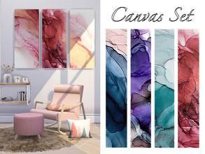 Sims 4 — Canvas Set by disu — A 3 panel canvas set that comes with 4 different swatches.