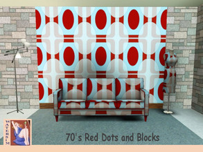 Sims 3 — ws 70sblockred Retro Pattern by watersim44 — A new creat geometric pattern for your Sims. Retro Seventies style