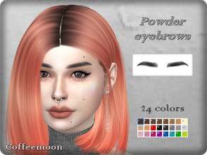 Sims 4 — Straight powdery eyebrows in 24 vibrant colors. by coffeemoon — Straight powdery brows for all genders, ages and