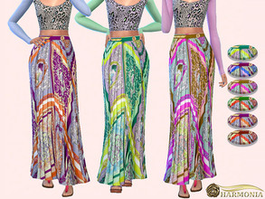 Sims 4 — Mosaic Print Pleated Long Skirt by Harmonia — 6 color Please do not use my textures. Please do not re-upload.