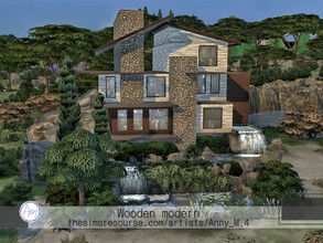 Sims 4 — Wooden modern by Anny_M4 — Here is a modern wooden house with a lot of plants. It has three floors and en-suite
