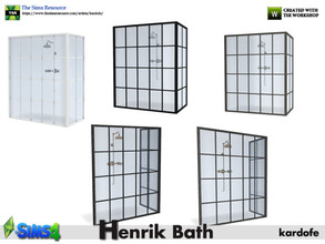 Sims 4 — kardofe_Henrik Bath_Shower by kardofe — Shower inside a metal and glass enclosure, without floor or side wall,