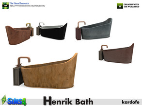 Sims 4 — kardofe_Henrik Bath_Tub by kardofe — Large size bathtub, free standing to place wherever you like, in five