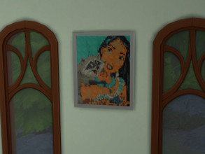 Sims 4 — Picture Pocahontas by julimo2 — Here is the pixel art of Pocahontas that I transformed into a painting With