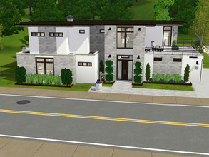 Sims 3 — Modern Neutral Home CC Free by Madams139 — Modern Neutral Home Lot 2 floors 4 bedrooms balconies outdoor kitchen