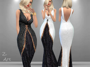 Sims 4 — Luxury 03 Gown by Zuckerschnute20 — An elegant evening dress made of lace with sequins and a decorative brooch