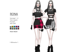 Sims 4 — RONA - Mini Skirt by Helsoseira — Style : Goth/industrial two layers plaid garter pocket mini skirt Name : RONA