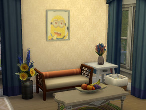 Sims 4 — Picture Minion by julimo2 — Here is the pixel art of Minion that I transformed into a painting avec mood Playful