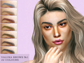 Sims 4 — Valuka brows N1 by Valuka — 22 colours. You can find it in brows. Thumbnail for identification. HQ compatible.